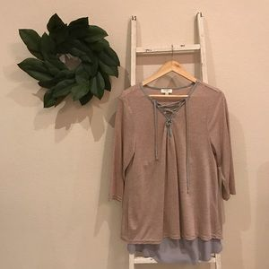 Umgee Cream and Gray Striped Lace Up Top
